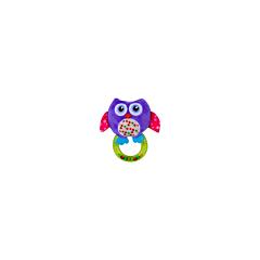 Jucarie zornaitoare din plus, Owl, 18,5 cm, cu inel, Purple, Lorelli