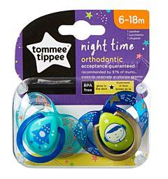 Suzeta Ortodontica de Noapte, Tommee Tippee, 2buc, 6-18 luni, Astronaut Baietel