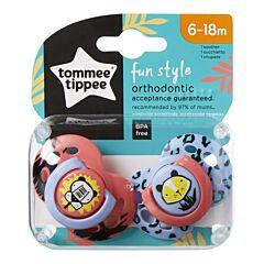 Suzeta Ortodontice de Zi FUN , Tommee Tippee, 2buc, 6-18 luni, Tigru roz / Tigru lila