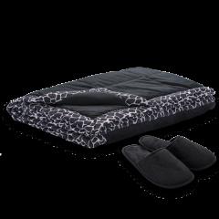 Patura cu papuci Soft Touch negru 140x200 cm
