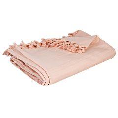 Patura cu franjuri, roz 160X220 cm, bumbac