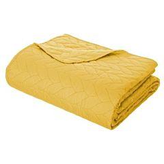 Set cuvertura matlasata 240x260 cm si doua fete perna 60x60 cm galben