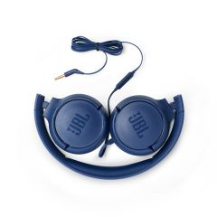 Casti On-ear cu fir JBL Tune 500, Albastru, buton on/off