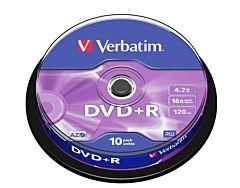 DVD+R Verbatim, 4.7 GB, 16x, 10 bucati/bulk, in cake box