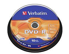 DVD-R Verbatim, 4.7 GB, 16x, 10 bucati/bulk, in cake box