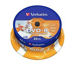 DVD-R Verbatim, 4.7 GB, 16x, 25 bucati/bulk, printabile