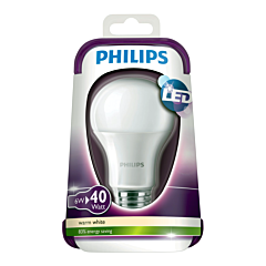 Bec LED Philips 5.5W, dulie E27, forma clasica A60, lumina calda 2700k, 470 lumeni