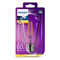 Bec Philips Led ST64CL 60W E27 FIL 2700K