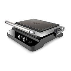 Gratar electric Black + Decker BXGR2000E, 2000 W, 3 placi antiaderente, ecran LCD, Negru
