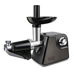 Masina de tocat carne Black + Decker BXMMA1000, 1000 W, 3 site, 2 trepte de viteza, accesorii carnati si suc de rosii, Negru