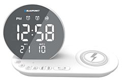 Ceas cu radio Blaupunkt CR85WH, incarcator wireless pt dispozitive mobile, Alb