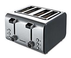 Prajitor de paine Heinner HTP-1400BKSS, 1600 W, 4 felii, tavita firimituri detasabila, inox/negru