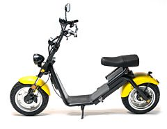 Moped Electric FreeWheel MotoRo S1, Galben, Autonomie 40 Km, Viteza 45 Km/h, Omologat RAR, Motor 1200 W