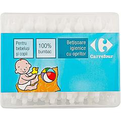 Betisoare igienice cu opritor Carrefour 60buc