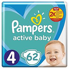 Scutece Pampers Active Baby Marimea 4, 9-14 kg, 62 buc