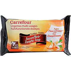 Servetele umede cu utilizare multipla, cu parfum de sapun negru si flori de portocale, Carrefour, 2x40 bucati