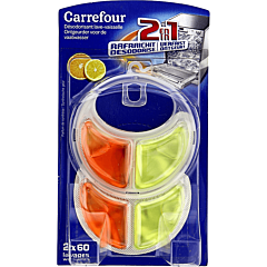 Dezodorizant pentru masina de spalat vase, cu parfum de portocala si lamaie, Carrefour, 2x60 spalari