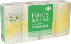 Hartie igienica Carrefour Musetel, 8 role, 3 straturi