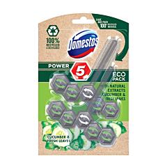 Odorizant ecologic pentru toaleta, Domestos Power 5 Cucumber&Fresh Leaves, 2x55g