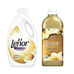 Pachet Promo: Detergent automat lichid Lenor Gold Orchid 40 spalari + Balsam Lenor Gold Orchid 50 spalari