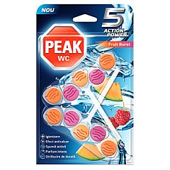 Odorizant toalete fructe, Peak WC 5 Action Power, 2x50g