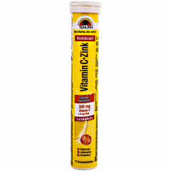 Tablete efervescente cu gust de lamaie, cu vitamina C si zinc Sun Life, 17 bucati, 102g