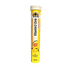 Tablete efervescente cu gust de lamaie, Vitamina C+Zinc Sunlife, 17 bucati, 102g