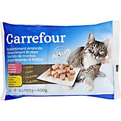 Hrana pentru pisici cu pui si vita Carrefour 6 x 100 g