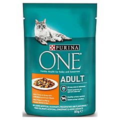 Hrana umeda pentru pisici Purina One Adult, cu pui si fasole verde, mini fileuri in sos, 85 g
