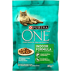 Hrana umeda pentru pisici Purina One Indoor, cu ton si fasole verde, mini fileuri in sos, 85 g