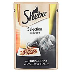 Hrana umeda completa pentru pisici adulte cu pui si vita Sheba Selection 85g