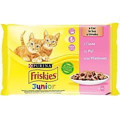Hrana umeda pentru pisici Friskies Junior, cu pui in sos, 4 x 85 g