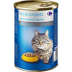 Hrana pentru pisici adulte cu pasare, conserva, Carrefour 415g