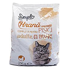 Hrana uscata completa pentru pisici adulte, cu pasare, Simpl, 2kg