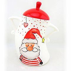 Ceainic cu capac rosu, design Mos Craciun cu cadou, 16.2x10.5x20.7 cm, ceramica, Alb/Rosu