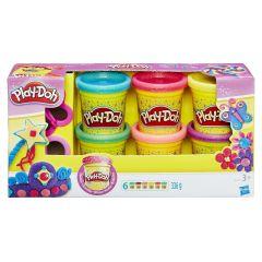 Pachet 6 cutii Play-Doh cu sclipici