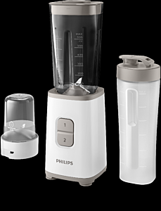 Miniblender Philips HR2603/00 Daily Collection, 350 W, 2 viteze, multi-tocator, recipient on-the-go, Alb