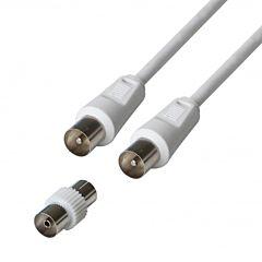 Cablu TV Poss PSANT08, coax M/M + Adaptor coax F/F, 1.5 m, Alb