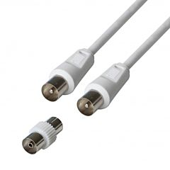 Cablu TV Poss PSANT09, coax M/M + Adaptor coax F/F, 5 m, Alb