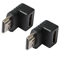 Adaptor HDMI Poss PSDAV08, HDMI tata/HDMI mama, 90 grade, Negru