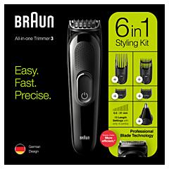 Kit ingrijire barbati 6-in-1 Braun MGK3220, Lame ascutite durabile, 5 accesorii, Acumulator, Negru