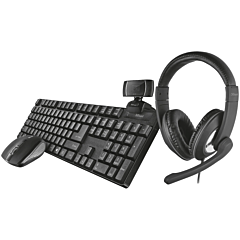 Kit office 4 in 1 Trust Qoby, camera web HD Trino, casca Reno, set tastatura si mouse Ximo, Negru