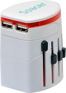 Adaptor priza universal Spacer SPAD-UNIV, 2 USB