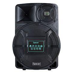 Boxa portabile tip troller Spacer SPB-A25-BT-F, 120W, Bluetooth, Microfon fir, Telecomanda, Negru