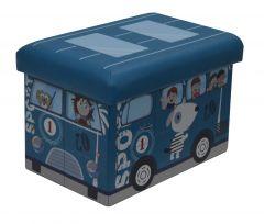 Taburet pliabil cu spatiu de depozitare pentru copii, albastru