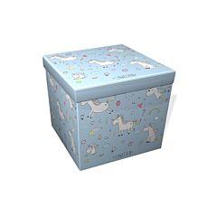 Taburet pliabil Heinner Home, model Unicorn, 38x38x37.5 cm, PVC/MDF, Albastru