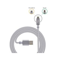 Cablu USB 2 in 1 Tellur, Lighting si MicroUSB, Nylon, 1 Metru, Argintiu
