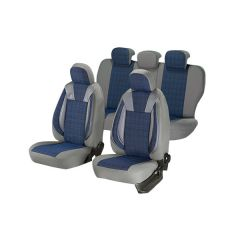 Huse scaune auto Umbrella SKODA SUPERB Luxury Piele ecologica Gri+ Albastru Textil