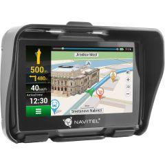 """Sistem de navigatie GPS Navitel G550 Moto, ecran 4.3"""" cu GPS, IP-67 si supot pentru casti BT A2DP, actualizare lifetime pentru harti, suport de fixare pentru motociclete"""