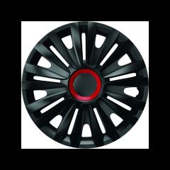 Set capace roti Mega Drive Royal, cu inel rosu, 13 Inch, Negru